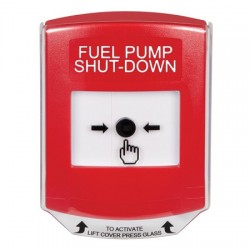 GLR0A1PS-EN STI Red Indoor Only Shield w/ Sound Key-to-Reset Push Button with FUEL PUMP SHUT-DOWN Label English