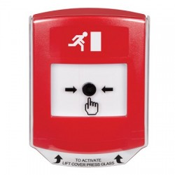 GLR0A1RM-EN STI Red Indoor Only Shield w/ Sound Key-to-Reset Push Button with Running Man Icon English