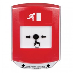 GLR0A1RM-ES STI Red Indoor Only Shield w/ Sound Key-to-Reset Push Button with Running Man Icon Spanish