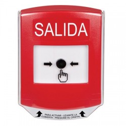 GLR0A1XT-ES STI Red Indoor Only Shield w/ Sound Key-to-Reset Push Button with EXIT Label Spanish