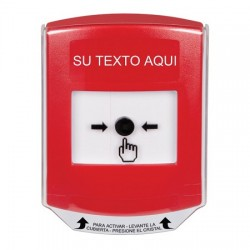 GLR0A1ZA-ES STI Red Indoor Only Shield w/ Sound Key-to-Reset Push Button with Non-Returnable Custom Text Label Spanish