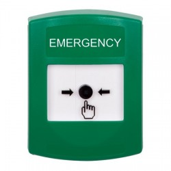 GLR101EM-EN STI Green Indoor Only No Cover Key-to-Reset Push Button with EMERGENCY LabelEnglish