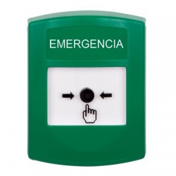 GLR101EM-ES STI Green Indoor Only No Cover Key-to-Reset Push Button with EMERGENCY Label Spanish