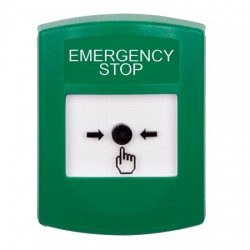 GLR101ES-EN STI Green Indoor Only No Cover Key-to-Reset Push Button with EMERGENCY STOP Label English