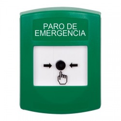 GLR101ES-ES STI Green Indoor Only No Cover Key-to-Reset Push Button with EMERGENCY STOP Label Spanish