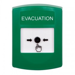 GLR101EV-EN STI Green Indoor Only No Cover Key-to-Reset Push Button with EVACUATION Label English
