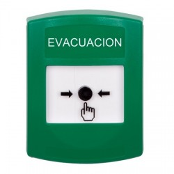 GLR101EV-ES STI Green Indoor Only No Cover Key-to-Reset Push Button with EVACUATION Label Spanish