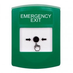 GLR101EX-EN STI Green Indoor Only No Cover Key-to-Reset Push Button with EMERGENCY EXIT Label English