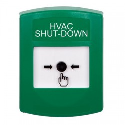 GLR101HV-EN STI Green Indoor Only No Cover Key-to-Reset Push Button with HVAC SHUT-DOWN Label English