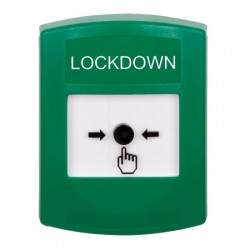 GLR101LD-EN STI Green Indoor Only No Cover Key-to-Reset Push Button with LOCKDOWN Label English