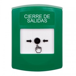 GLR101LD-ES STI Green Indoor Only No Cover Key-to-Reset Push Button with LOCKDOWN Label Spanish