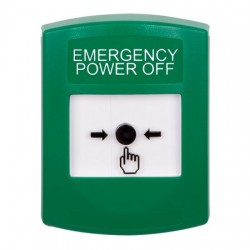 GLR101PO-EN STI Green Indoor Only No Cover Key-to-Reset Push Button with EMERGENCY POWER OFF Label English