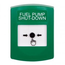 GLR101PS-EN STI Green Indoor Only No Cover Key-to-Reset Push Button with FUEL PUMP SHUT-DOWN Label English