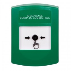 GLR101PS-ES STI Green Indoor Only No Cover Key-to-Reset Push Button with FUEL PUMP SHUT-DOWN Label Spanish