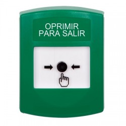 GLR101PX-ES STI Green Indoor Only No Cover Key-to-Reset Push Button with PUSH TO EXIT Label Spanish