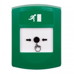 GLR101RM-EN STI Green Indoor Only No Cover Key-to-Reset Push Button with Running Man Icon English