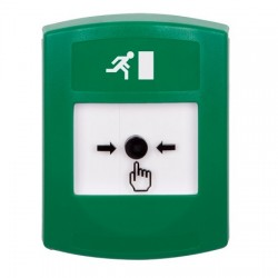 GLR101RM-ES STI Green Indoor Only No Cover Key-to-Reset Push Button with Running Man Icon Spanish