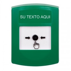 GLR101ZA-ES STI Green Indoor Only No Cover Key-to-Reset Push Button with Non-Returnable Custom Text Label Spanish