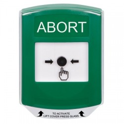 GLR121AB-EN STI Green Indoor Only Shield Key-to-Reset Push Button with ABORT Label English
