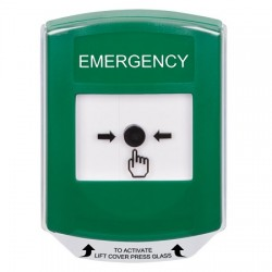 GLR121EM-EN STI Green Indoor Only Shield Key-to-Reset Push Button with EMERGENCY Label English
