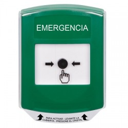 GLR121EM-ES STI Green Indoor Only Shield Key-to-Reset Push Button with EMERGENCY Label Spanish