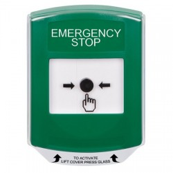 GLR121ES-EN STI Green Indoor Only Shield Key-to-Reset Push Button with EMERGENCY STOP Label English