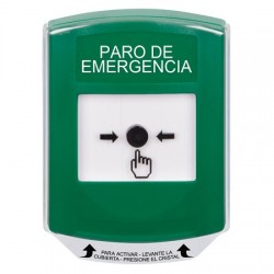 GLR121ES-ES STI Green Indoor Only Shield Key-to-Reset Push Button with EMERGENCY STOP Label Spanish