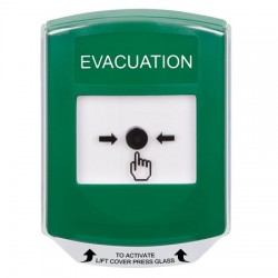 GLR121EV-EN STI Green Indoor Only Shield Key-to-Reset Push Button with EVACUATION Label English