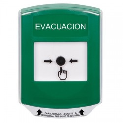 GLR121EV-ES STI Green Indoor Only Shield Key-to-Reset Push Button with EVACUATION Label Spanish