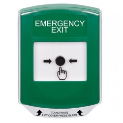 GLR121EX-EN STI Green Indoor Only Shield Key-to-Reset Push Button with EMERGENCY EXIT Label English