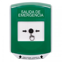 GLR121EX-ES STI Green Indoor Only Shield Key-to-Reset Push Button with EMERGENCY EXIT Label Spanish