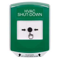 GLR121HV-EN STI Green Indoor Only Shield Key-to-Reset Push Button with HVAC SHUT-DOWN Label English