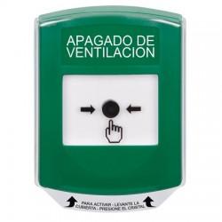 GLR121HV-ES STI Green Indoor Only Shield Key-to-Reset Push Button with HVAC SHUT-DOWN Label Spanish