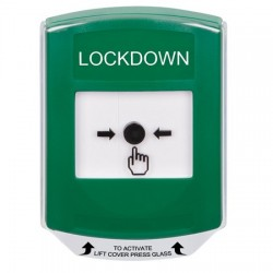 GLR121LD-EN STI Green Indoor Only Shield Key-to-Reset Push Button with LOCKDOWN Label English