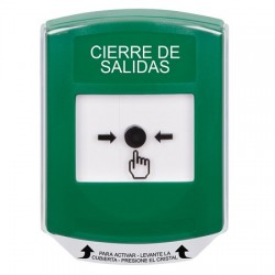 GLR121LD-ES STI Green Indoor Only Shield Key-to-Reset Push Button with LOCKDOWN Label Spanish