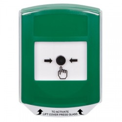 GLR121NT-EN STI Green Indoor Only Shield Key-to-Reset Push Button with No Text Label English