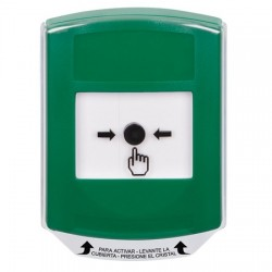 GLR121NT-ES STI Green Indoor Only Shield Key-to-Reset Push Button with No Text Label Spanish