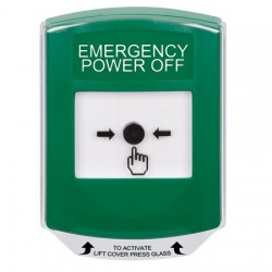 GLR121PO-EN STI Green Indoor Only Shield Key-to-Reset Push Button with EMERGENCY POWER OFF Label English