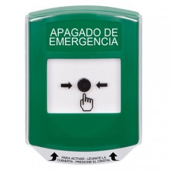 GLR121PO-ES STI Green Indoor Only Shield Key-to-Reset Push Button with EMERGENCY POWER OFF Label Spanish