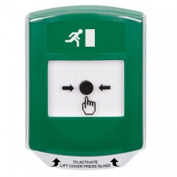 GLR121RM-EN STI Green Indoor Only Shield Key-to-Reset Push Button with Running Man Icon English