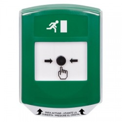 GLR121RM-ES STI Green Indoor Only Shield Key-to-Reset Push Button with Running Man Icon Spanish