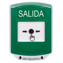 GLR121XT-ES STI Green Indoor Only Shield Key-to-Reset Push Button with EXIT Label Spanish