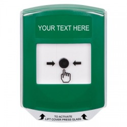 GLR121ZA-EN STI Green Indoor Only Shield Key-to-Reset Push Button with Non-Returnable Custom Text Label English
