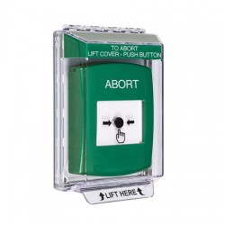 GLR131AB-EN STI Green Indoor/Outdoor Low Profile Flush Mount Key-to-Reset Push Button with ABORT Label English
