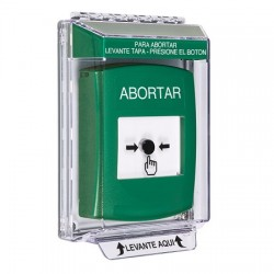 GLR131AB-ES STI Green Indoor/Outdoor Low Profile Flush Mount Key-to-Reset Push Button with ABORT Label Spanish