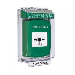 GLR131EM-EN STI Green Indoor/Outdoor Low Profile Flush Mount Key-to-Reset Push Button with EMERGENCY Label English