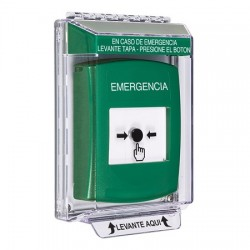 GLR131EM-ES STI Green Indoor/Outdoor Low Profile Flush Mount Key-to-Reset Push Button with EMERGENCY Label Spanish