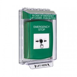 GLR131ES-EN STI Green Indoor/Outdoor Low Profile Flush Mount Key-to-Reset Push Button with EMERGENCY STOP Label English