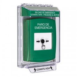 GLR131ES-ES STI Green Indoor/Outdoor Low Profile Flush Mount Key-to-Reset Push Button with EMERGENCY STOP Label Spanish