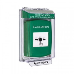 GLR131EV-EN STI Green Indoor/Outdoor Low Profile Flush Mount Key-to-Reset Push Button with EVACUATION Label English